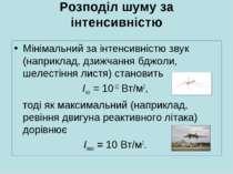 Розподіл шуму за інтенсивністю Мінімальний за інтенсивністю звук (наприклад, ...