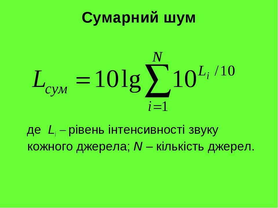 Сумарний шум де Li рівень інтенсивності звуку кожного джерела; N – кількість ...
