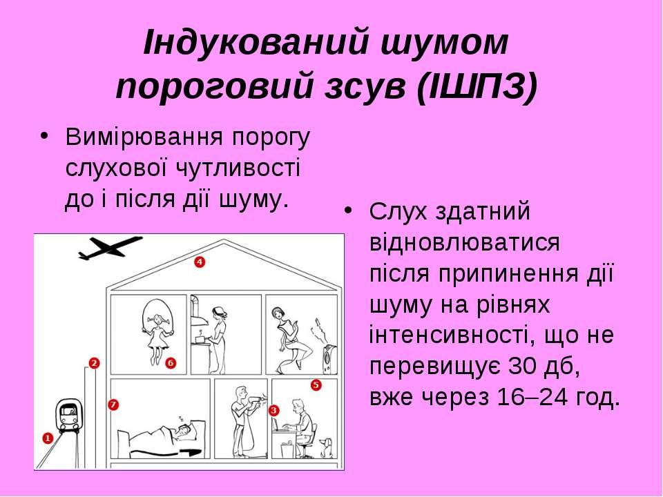 Індукований шумом пороговий зсув (ІШПЗ) Вимірювання порогу слухової чутливост...