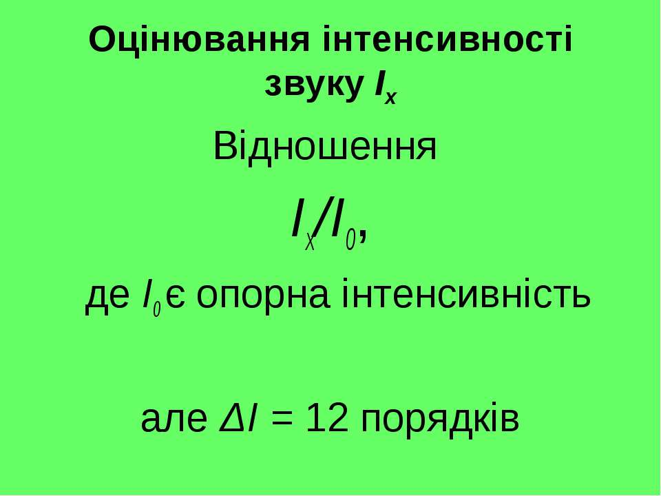 Оцінювання інтенсивності звуку Ix Відношення Ix/I0, де I0 є опорна інтенсивні...
