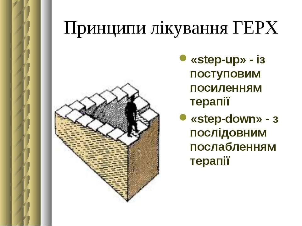 Принципи лікування ГЕРХ «step-up» - із поступовим посиленням терапії «step-do...