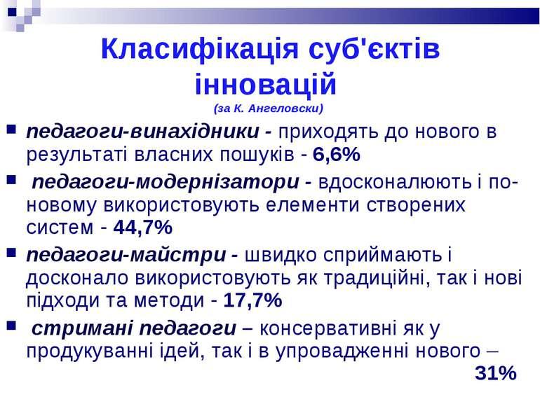 Класифікація суб'єктів інновацій (за К. Ангеловски) педагоги-винахідники - пр...