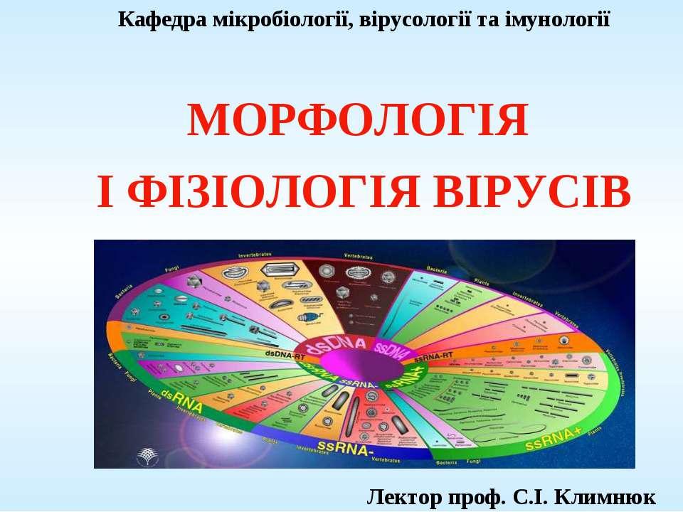 Кафедра мікробіології, вірусології та імунології МОРФОЛОГІЯ І ФІЗІОЛОГІЯ ВІРУ...