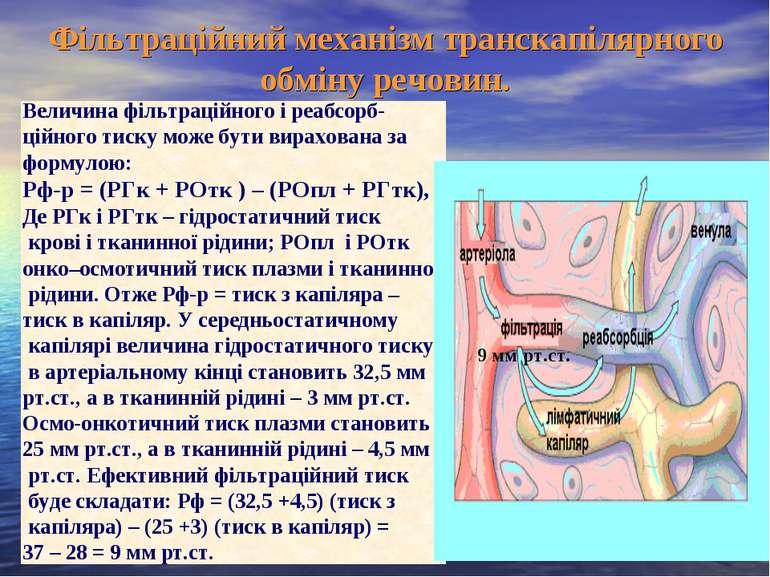Фільтраційний механізм транскапілярного обміну речовин. Величина фільтраційно...
