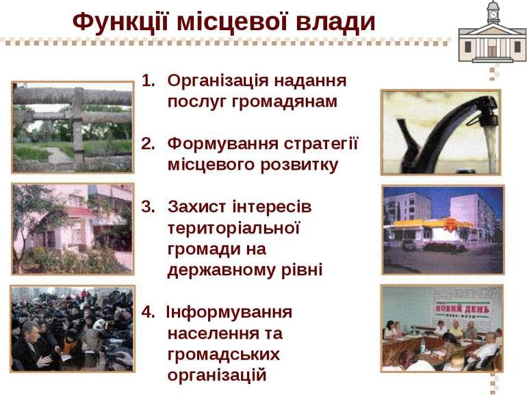 Функції місцевої влади Організація надання послуг громадянам Формування страт...
