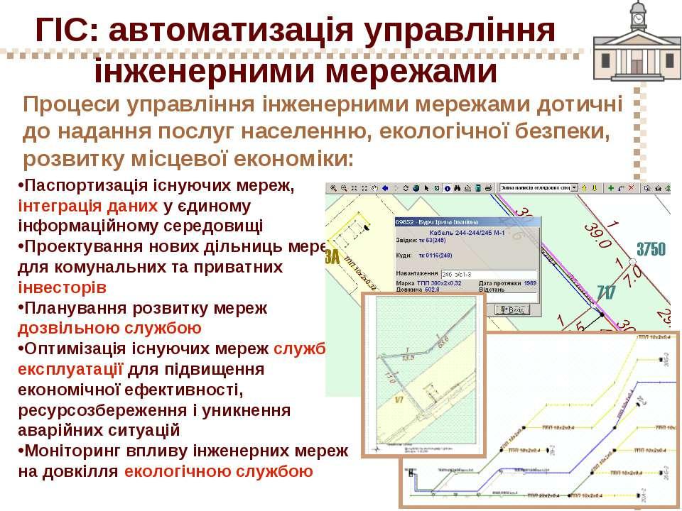 ГІС: автоматизація управління інженерними мережами Процеси управління інженер...
