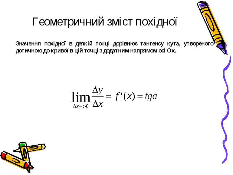 Геометричний зміст похідної Значення похідної в деякій точці дорівнює тангенс...