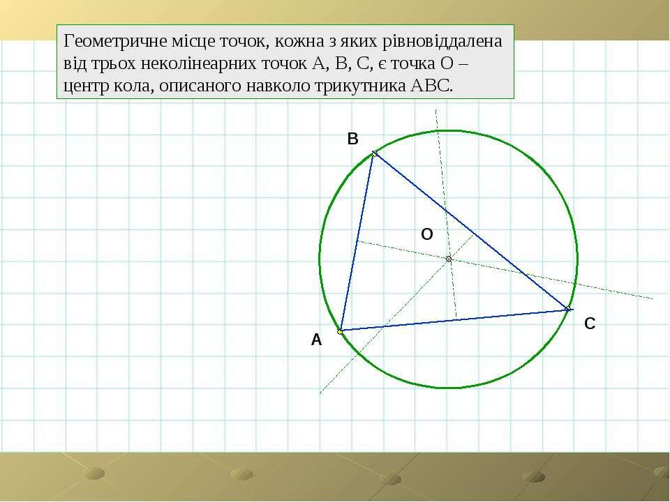 Геометричне місце точок, кожна з яких рівновіддалена від трьох неколінеарних ...