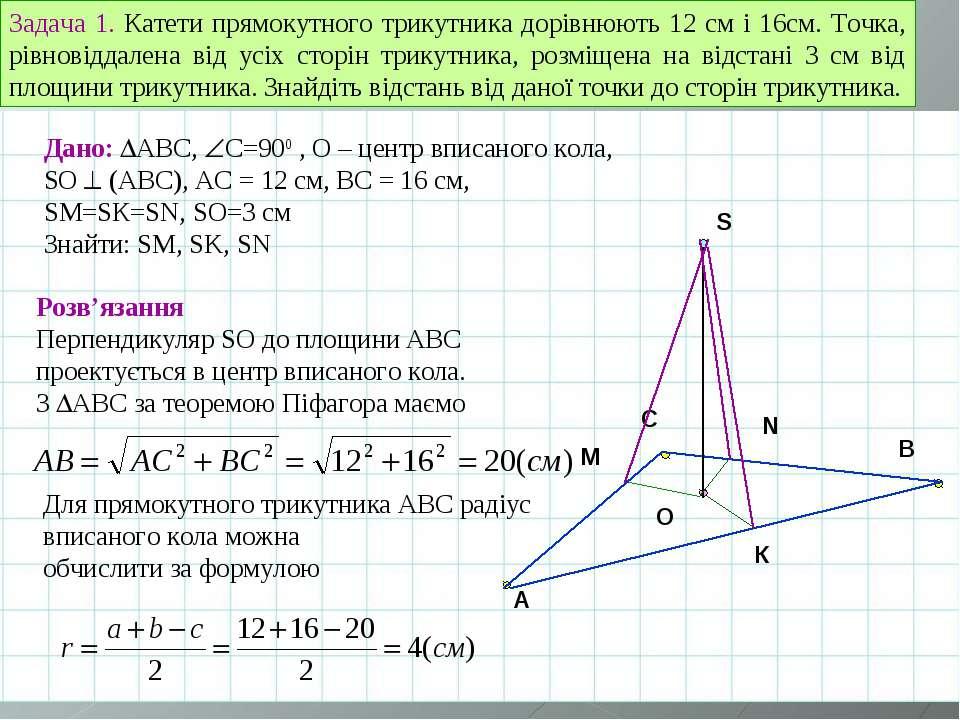 A B C O Задача 1. Катети прямокутного трикутника дорівнюють 12 см і 16см. Точ...