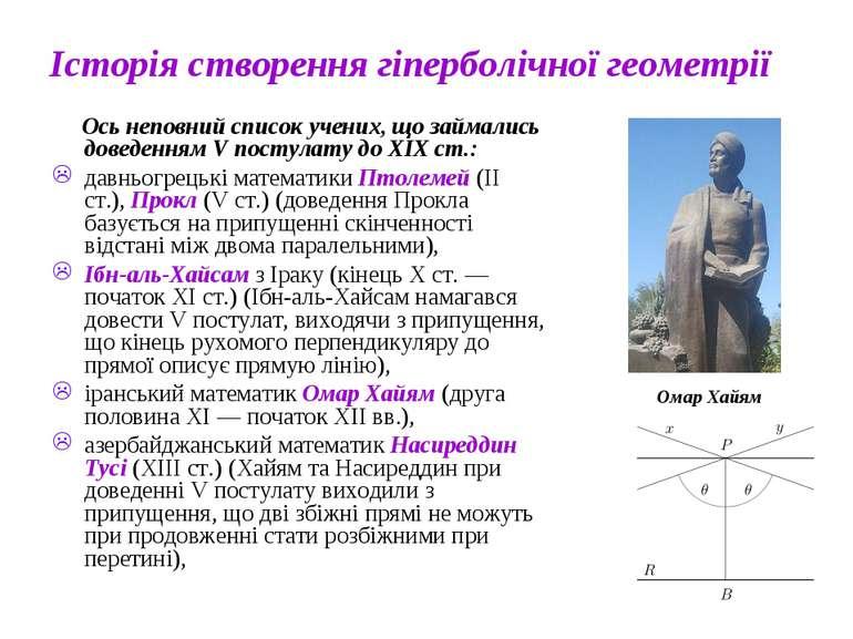 Історія створення гіперболічної геометрії Ось неповний список учених, що займ...