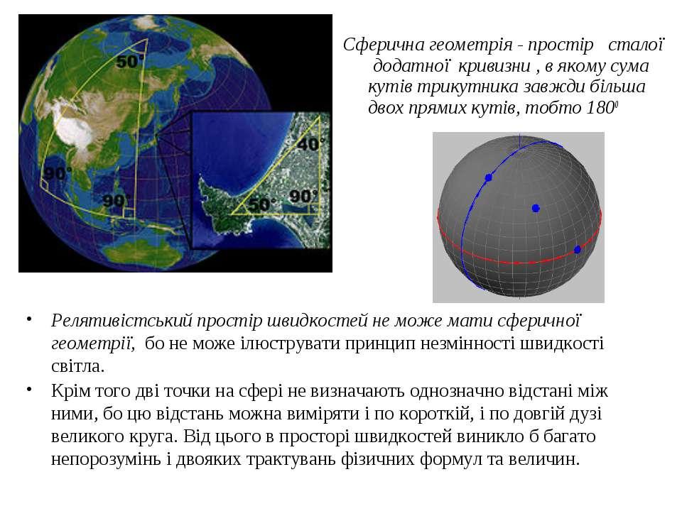 Релятивістський простір швидкостей не може мати сферичної геометрії, бо не мо...
