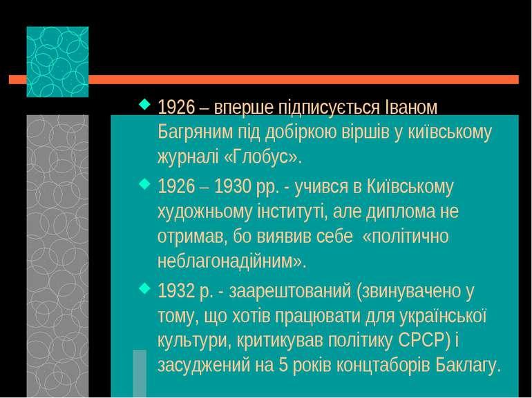 1926 – вперше підписується Іваном Багряним під добіркою віршів у київському ж...