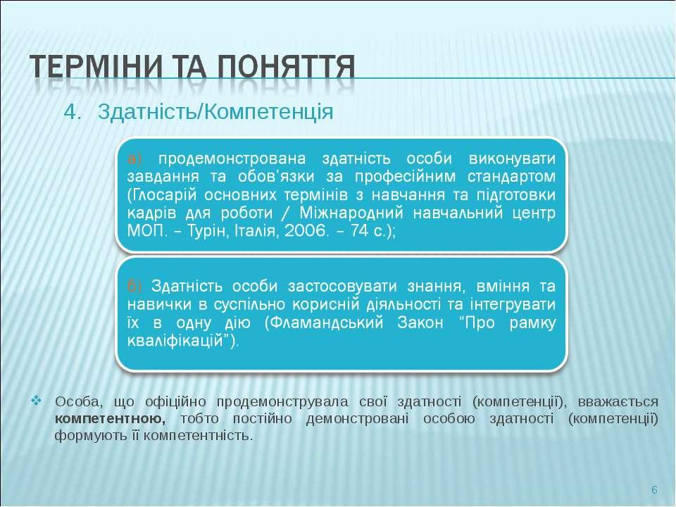 Здатність/Компетенція Особа, що офіційно продемонструвала свої здатності (ком...