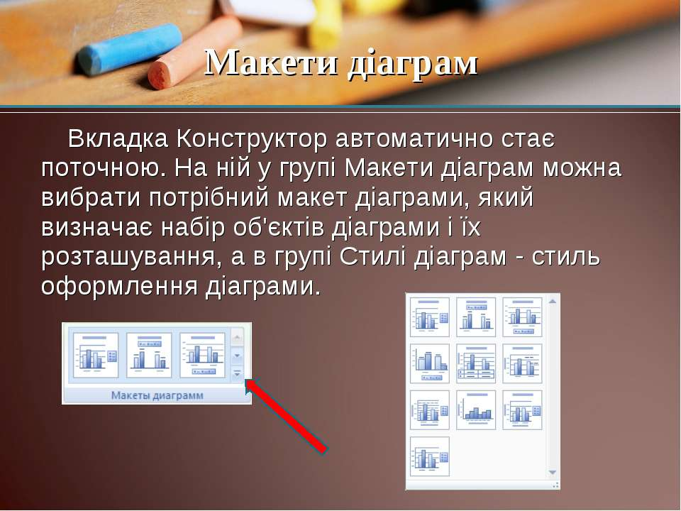 Вкладка Конструктор автоматично стає поточною. На ній у групі Макети діаграм ...