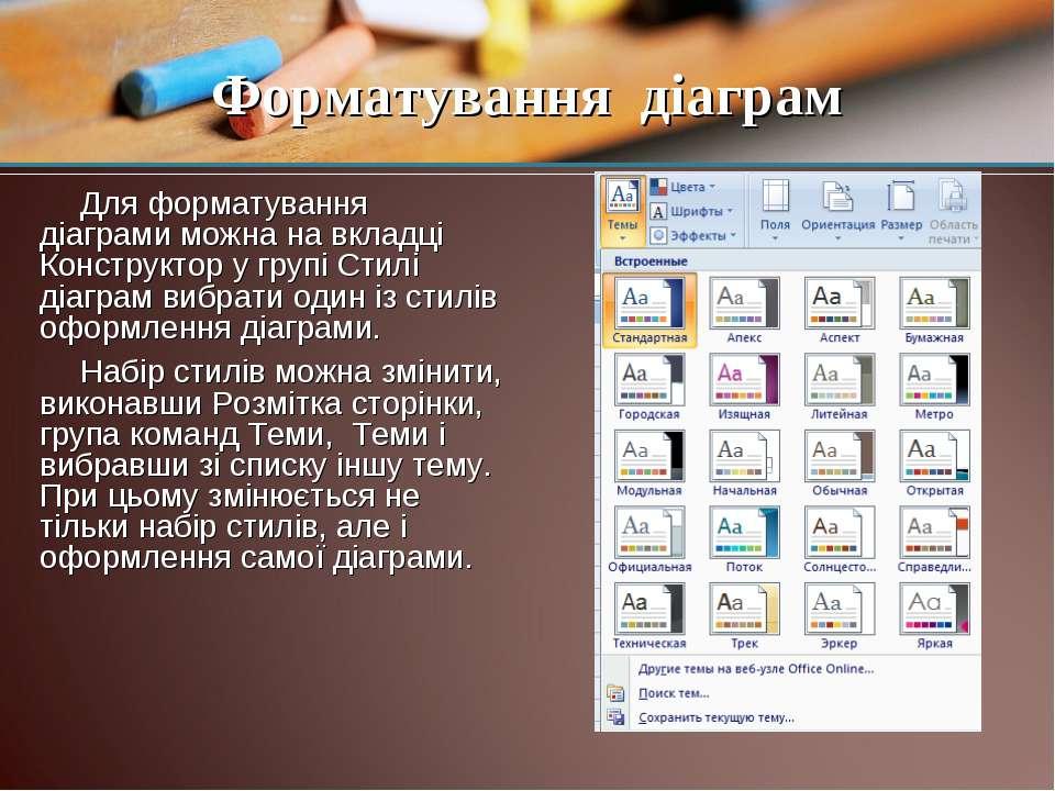 Для форматування діаграми можна на вкладці Конструктор у групі Стилі діаграм ...