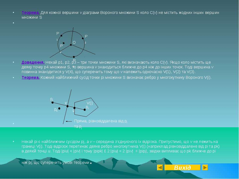 Теорема. Для кожної вершини v діаграми Вороного множини S коло C(v) не містит...