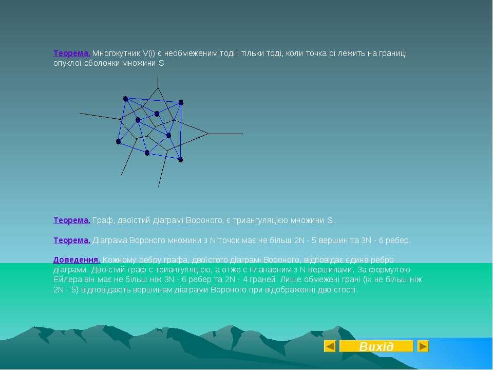 Теорема. Многокутник V(i) є необмеженим тоді і тільки тоді, коли точка pi леж...