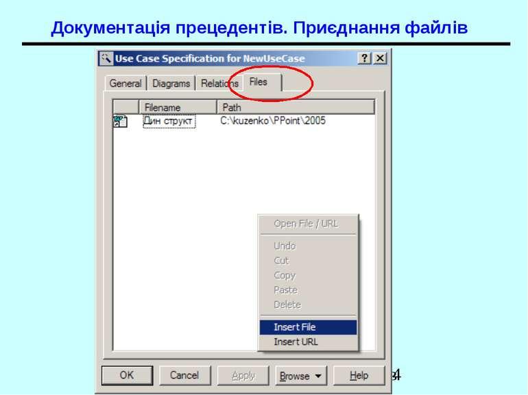 Документація прецедентів. Приєднання файлів UML. Діаграми прецедентів