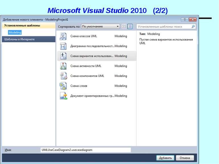 Microsoft Visual Studio 2010 (2/2) UML. Діаграми прецедентів