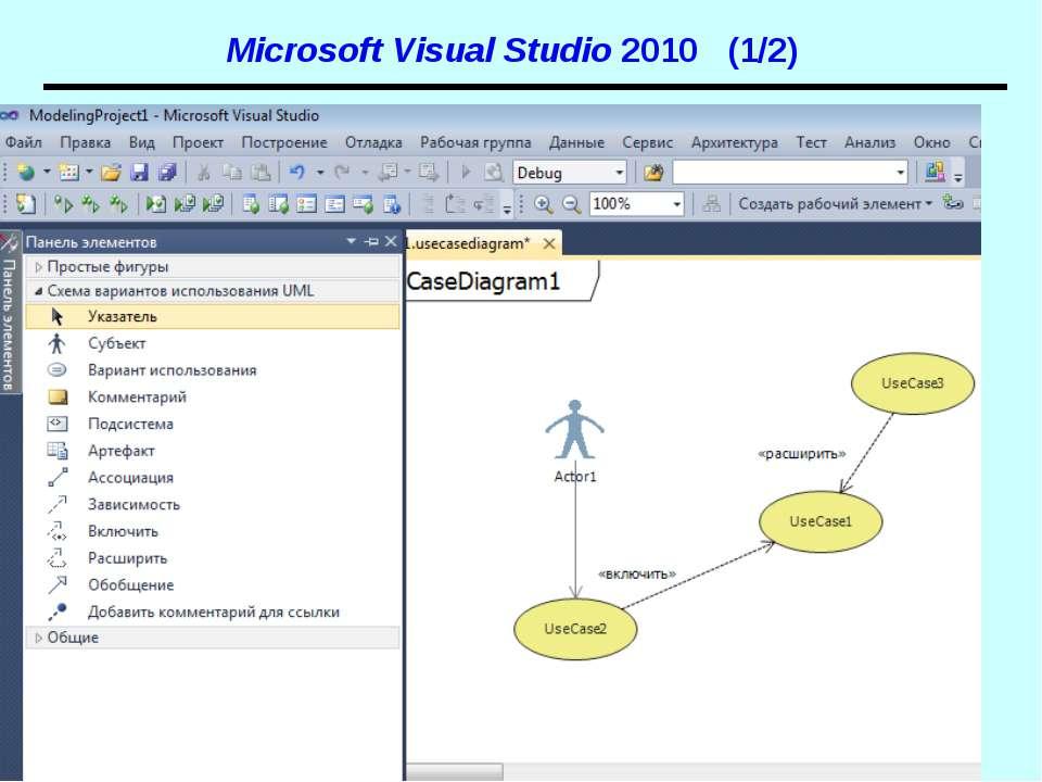 Microsoft Visual Studio 2010 (1/2) UML. Діаграми прецедентів
