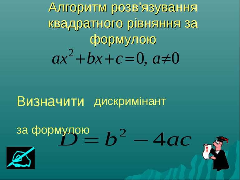 Алгоритм розв'язування квадратного рівняння за формулою Визначити дискримінан...