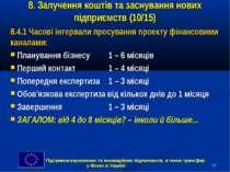 * 8. Залучення коштів та заснування нових підприємств (10/15) 8.4.1 Часові ін...