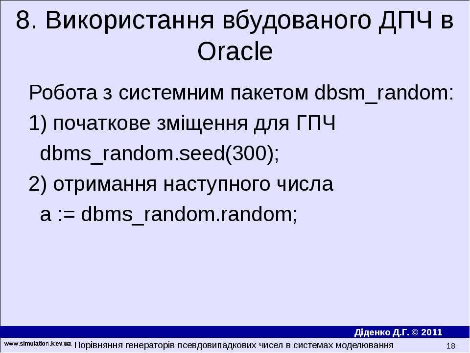www.simulation.kiev.ua * Робота з системним пакетом dbsm_random: 1) початкове...