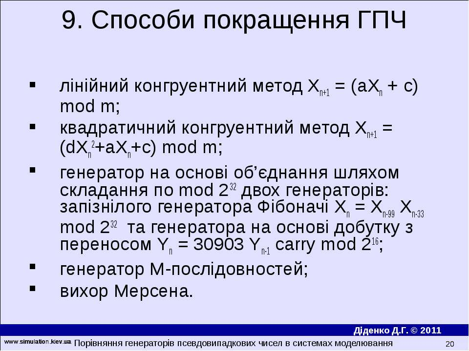www.simulation.kiev.ua * лінійний конгруентний метод Xn+1 = (aXn + c) mod m; ...