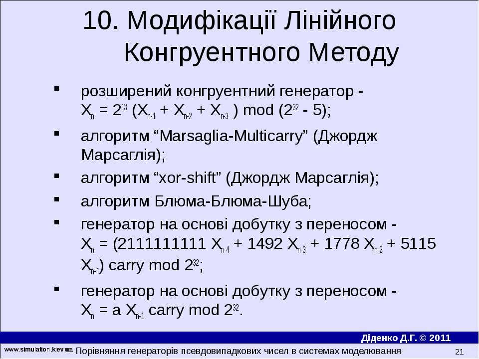 www.simulation.kiev.ua * розширений конгруентний генератор - Xn = 213 (Xn-1 +...