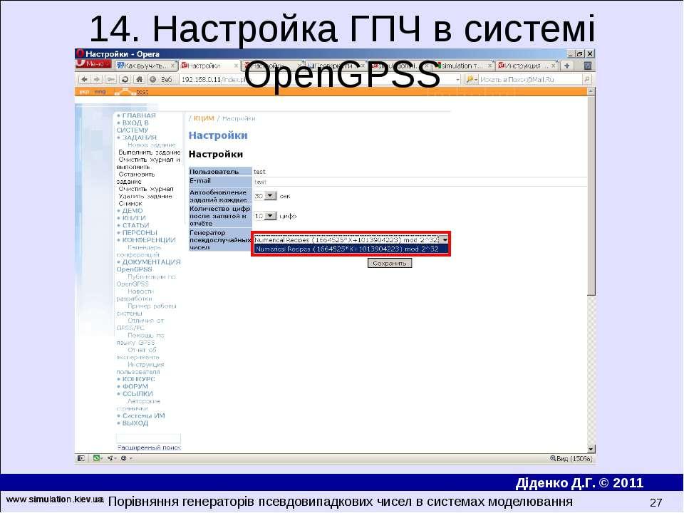 www.simulation.kiev.ua * 14. Настройка ГПЧ в системі OpenGPSS Порівняння гене...
