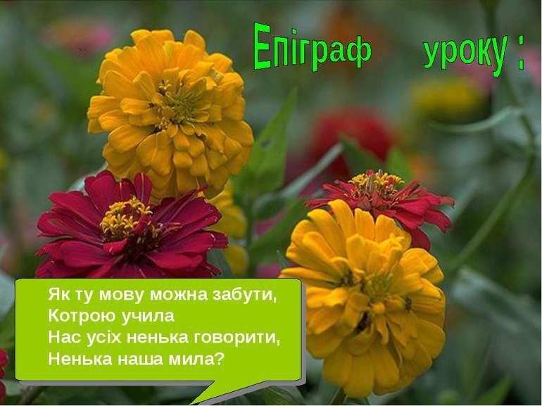 Як ту мову можна забути, Котрою учила Нас усіх ненька говорити, Ненька наша м...
