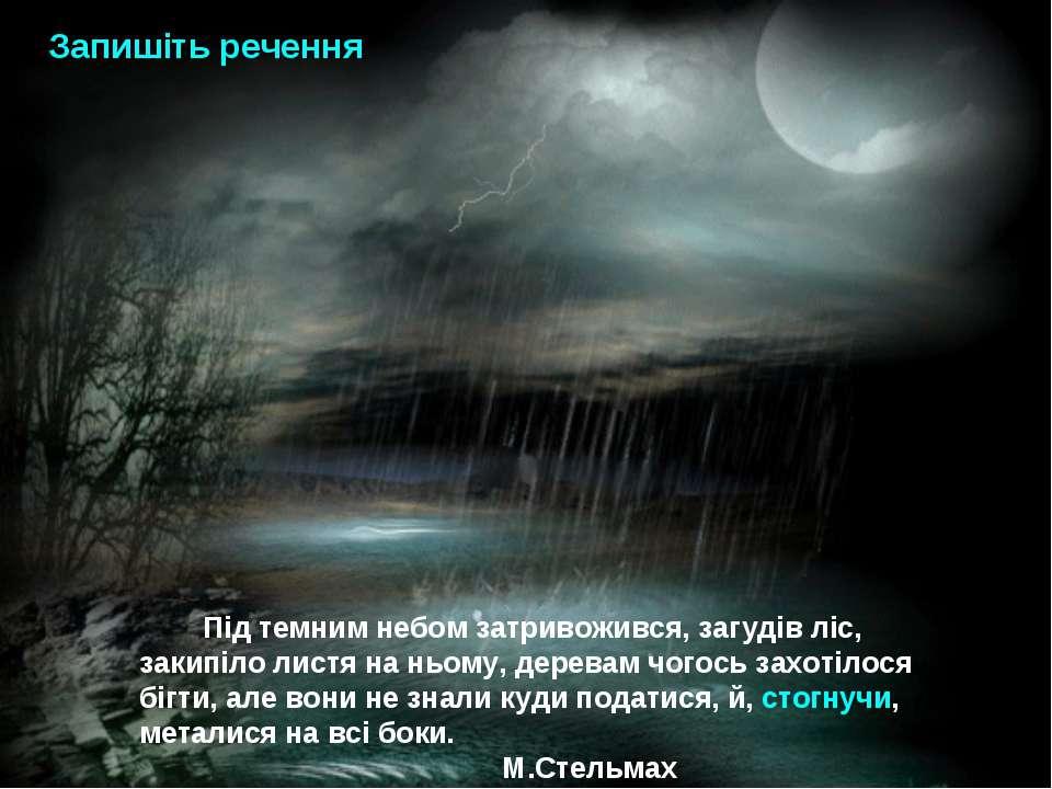 Під темним небом затривожився, загудів ліс, закипіло листя на ньому, деревам ...