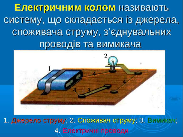 Електричним колом називають систему, що складається із джерела, споживача стр...