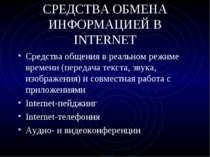 СРЕДСТВА ОБМЕНА ИНФОРМАЦИЕЙ В INTERNET Средства общения в реальном режиме вре...