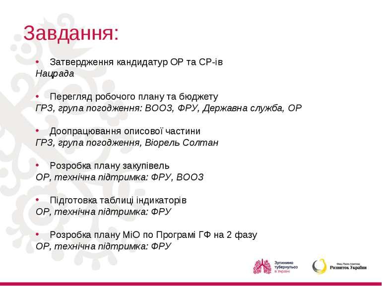 Завдання: Затвердження кандидатур ОР та СР-ів Нацрада Перегляд робочого плану...