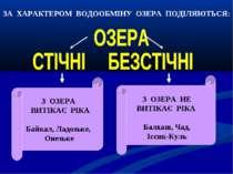 ЗА ХАРАКТЕРОМ ВОДООБМІНУ ОЗЕРА ПОДІЛЯЮТЬСЯ: З ОЗЕРА ВИТІКАЄ РІКА Байкал, Ладо...