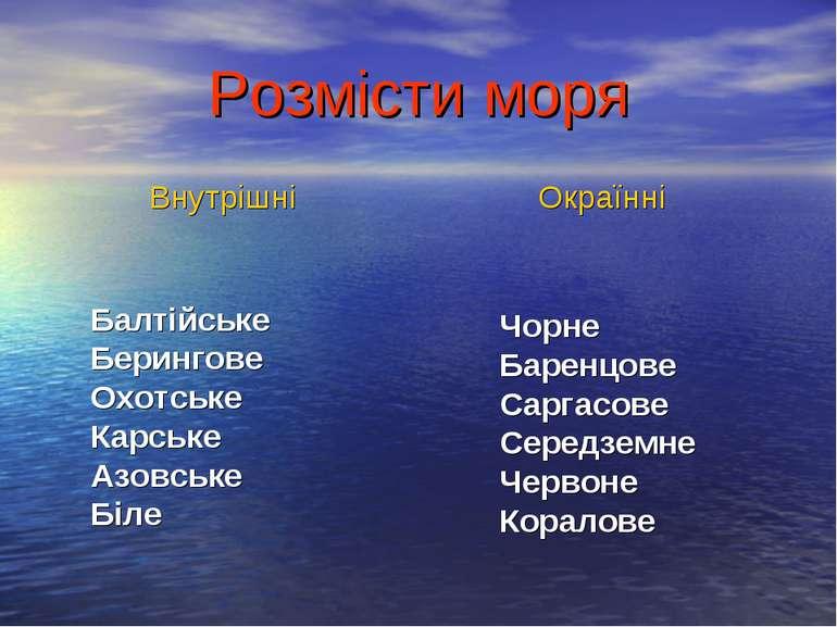 Розмісти моря Балтійське Берингове Охотське Карське Азовське Біле Чорне Барен...