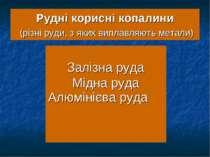 Рудні корисні копалини (різні руди, з яких виплавляють метали) Залізна руда М...
