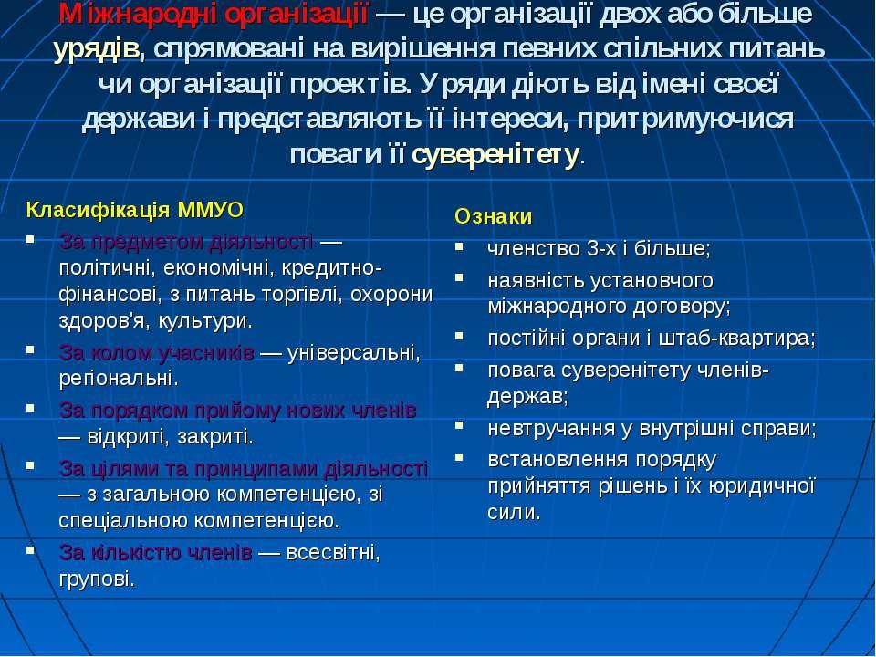 Міжнародні організації— це організації двох або більше урядів, спрямовані на...