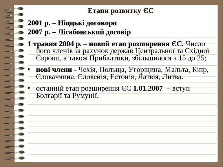 Етапи розвитку ЄС2001 р. – Ніццькі договори2007 р. – Лісабонський договір1 тр...