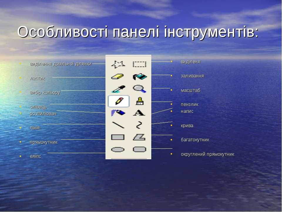 Особливості панелі інструментів: виділення довільної ділянки ластик вибір кол...