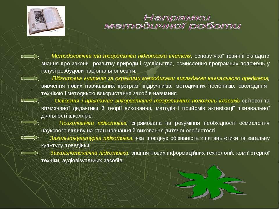Методологічна та теоретична підготовка вчителя, основу якої повинні складати ...