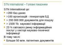STN International – Головні показники STN International це: >200 баз даних >1...