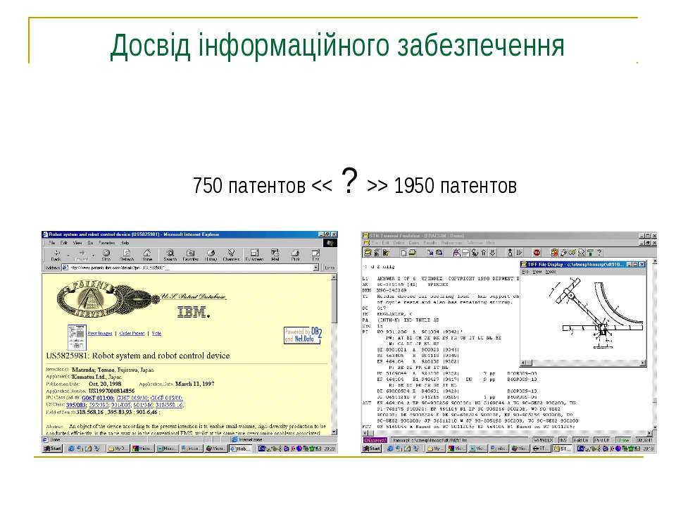 Досвід інформаційного забезпечення 750 патентов > 1950 патентов