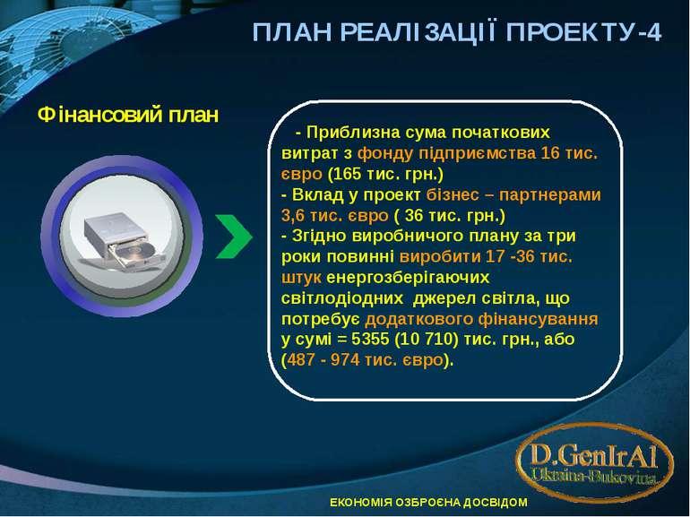 ПЛАН РЕАЛІЗАЦІЇ ПРОЕКТУ-4 Фінансовий план - Приблизна сума початкових витрат ...