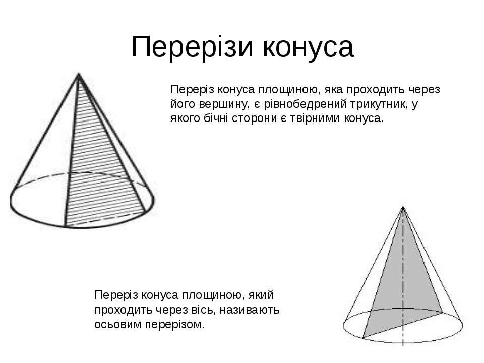 Перерізи конуса Переріз конуса площиною, яка проходить через його вершину, є ...