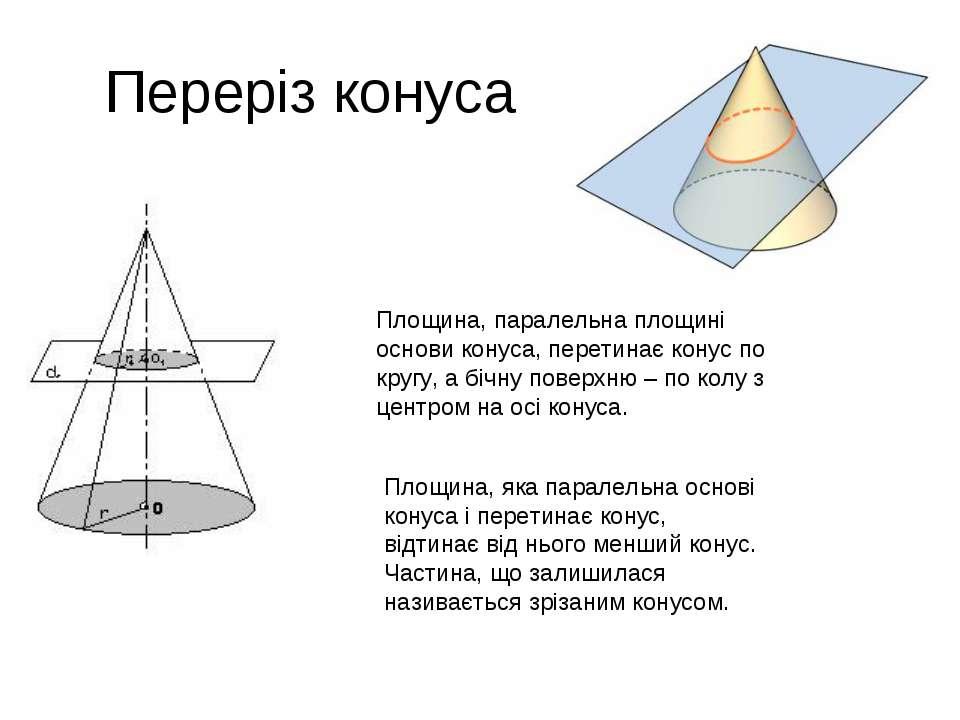 Переріз конуса Площина, паралельна площині основи конуса, перетинає конус по ...