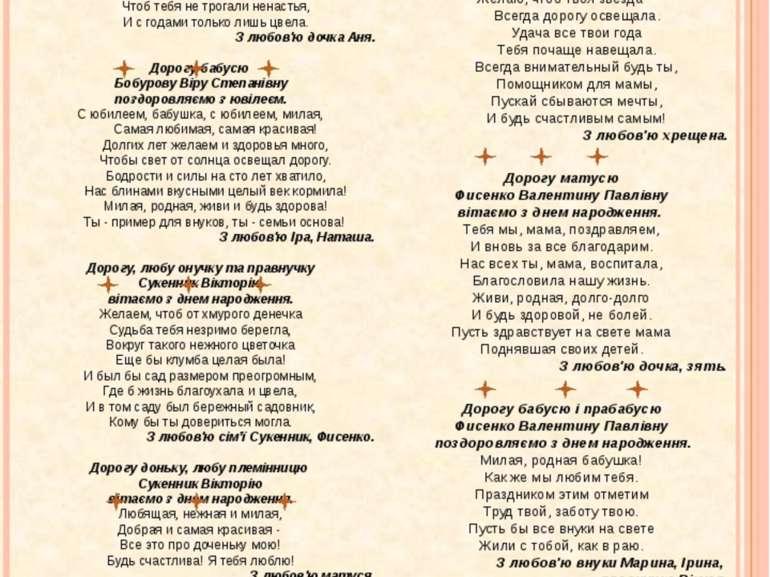 ВІТАЄМО! Дорогу матусю Бобурову Віру Степанівну поздоровляю з ювілеєм! Милая,...