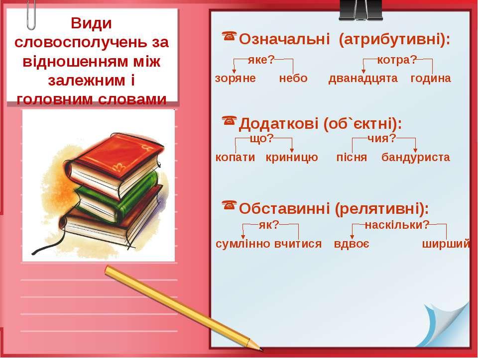 Види словосполучень за відношенням між залежним і головним словамиОзначальні ...