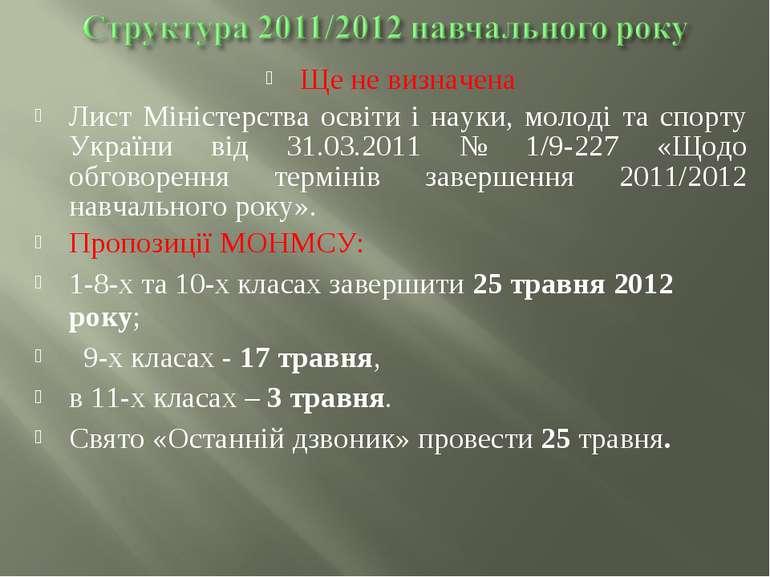 Ще не визначена Лист Міністерства освіти і науки, молоді та спорту України ві...
